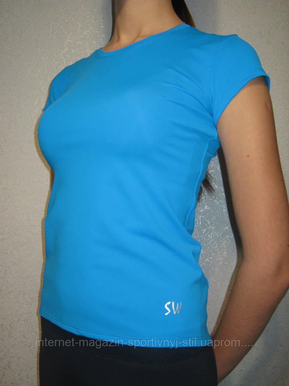 Футболка женская спортивная бифлекс разм 52-54 голубая