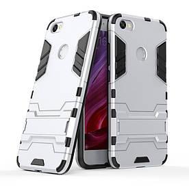 Чехол накладка для Xiaomi Redmi Note 5A Prime противоударный силиконовый с пластиком, Alien, серебристый