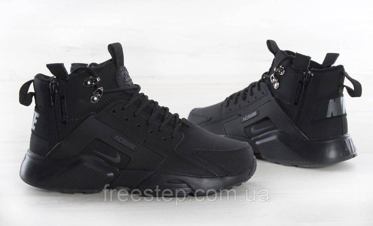 ab4cedf7 Кроссовки в стиле Nike Air Huarache X Acronym City MID Lea нубук высокие  черные - Интернет