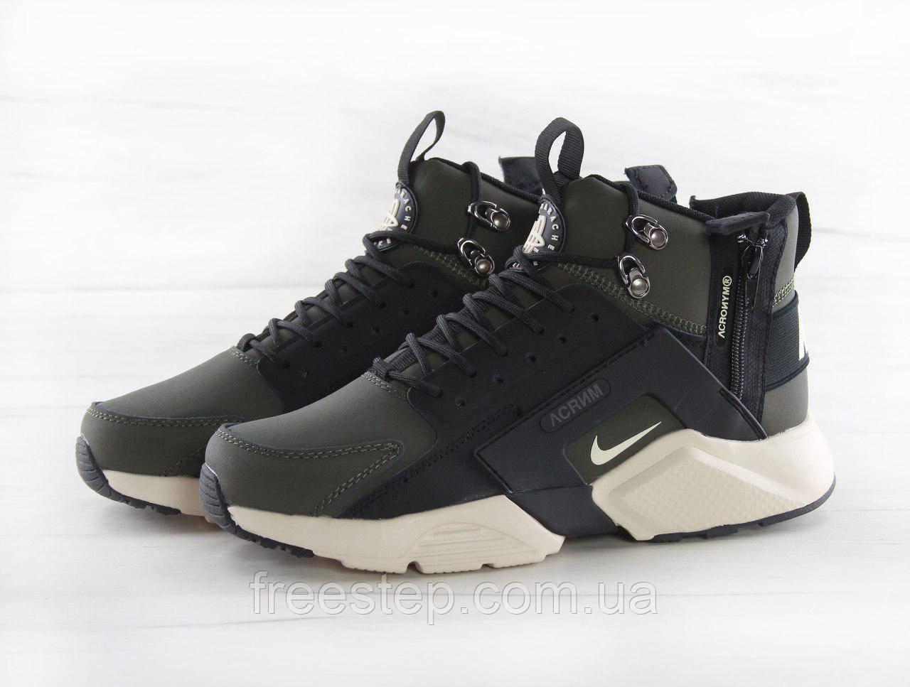 fbf5dd6d Кроссовки в стиле Nike Air Huarache X Acronym City MID Lea, нубук, хаки,