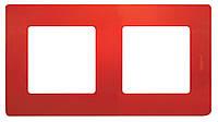 Рамка 2 поста Etika Красный, фото 1