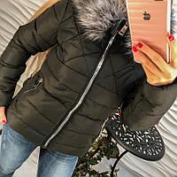 Женская куртка Стразики черная р.44-46