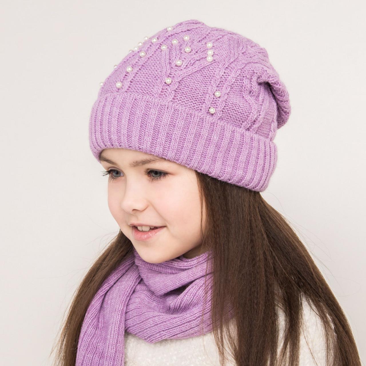 Комплект  для девочки из шапки и хомута с бусинками - Артикул 0858