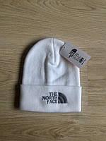 Шапка мужская зимняя без бубона The North Face White (реплика)
