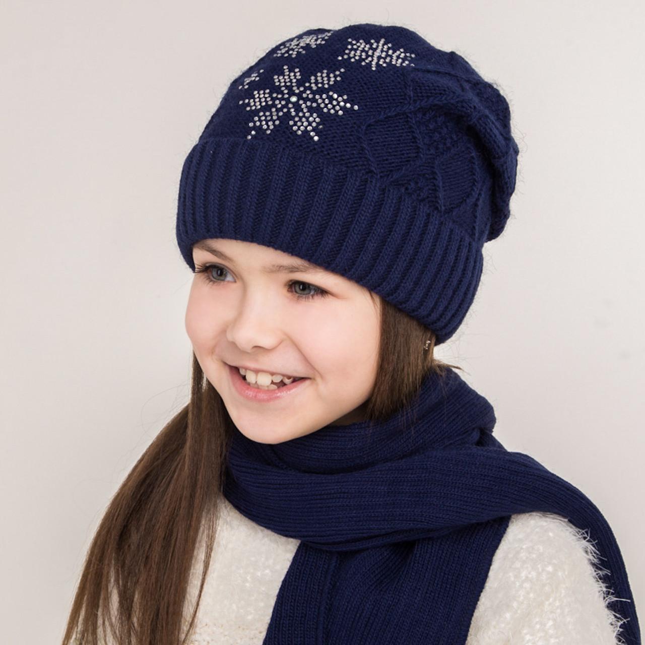 Комплект для девочки из шапки и хомута - Снежинки - Артикул 0863