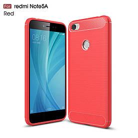 Чехол накладка для Xiaomi Redmi Note 5A Prime силиконовый, Carbon Fibre, красный