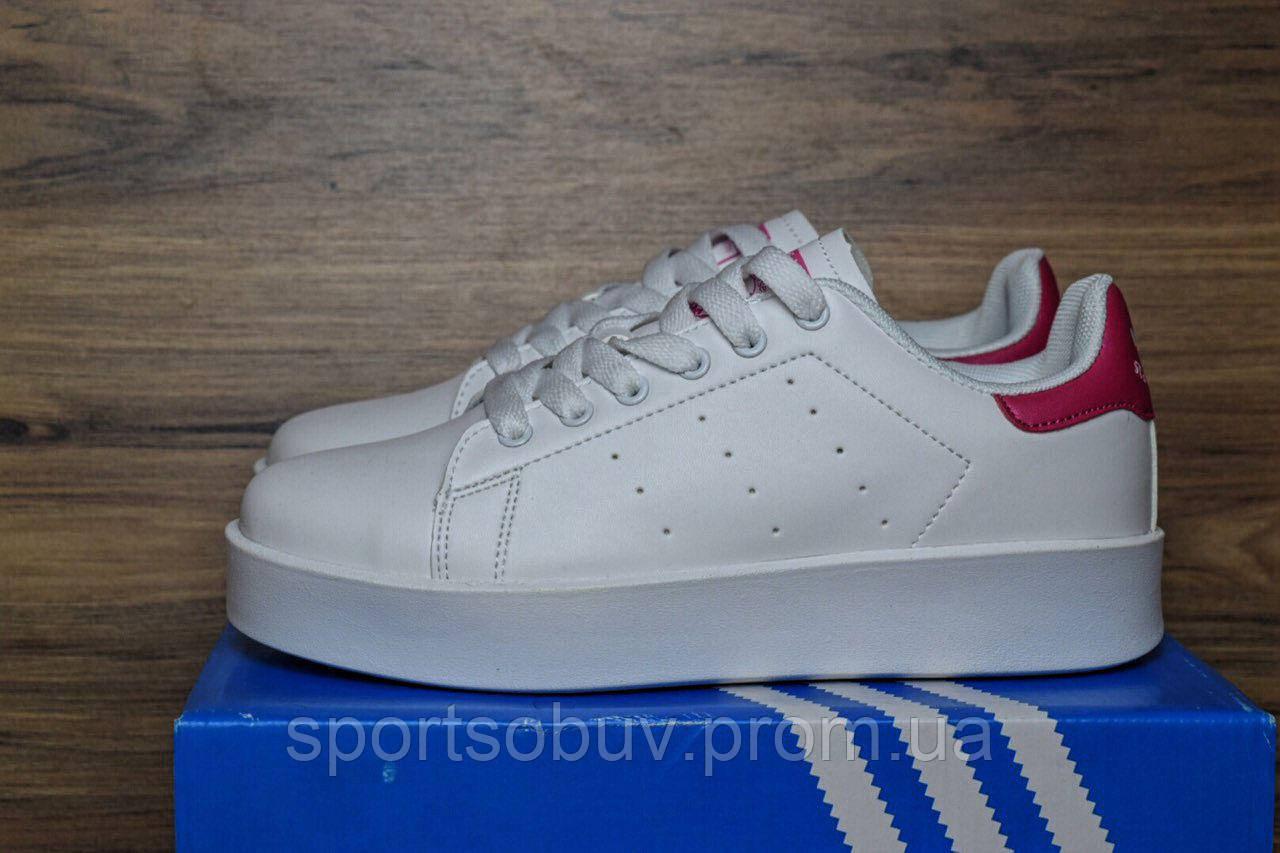 a90bb8063798 Женские кроссовки Adidass Stan Smith белые с красным - интернет-магазин