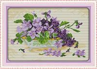 Лиловый букет в вазе Набор для вышивания крестиком с печатью на ткани канва 11СТ