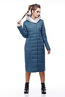 Ультрамодное пальто из плащевки Сима серо-синий