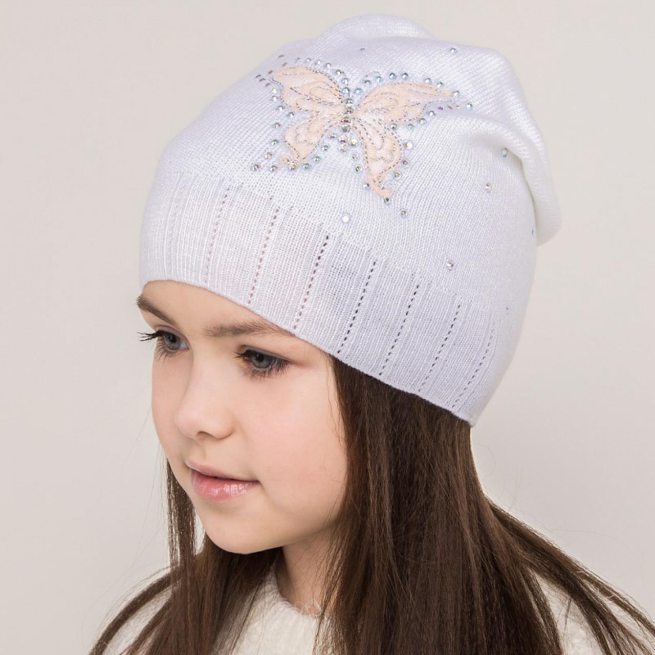 Весенняя шапка для девочек на весну-осень 2018 оптом - Бабочка - Артикул 2134
