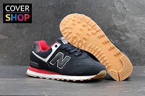 Мужские кроссовки New Balance 574, цвет - темно-синий с красным, материал - замша, подошва - пенка 41