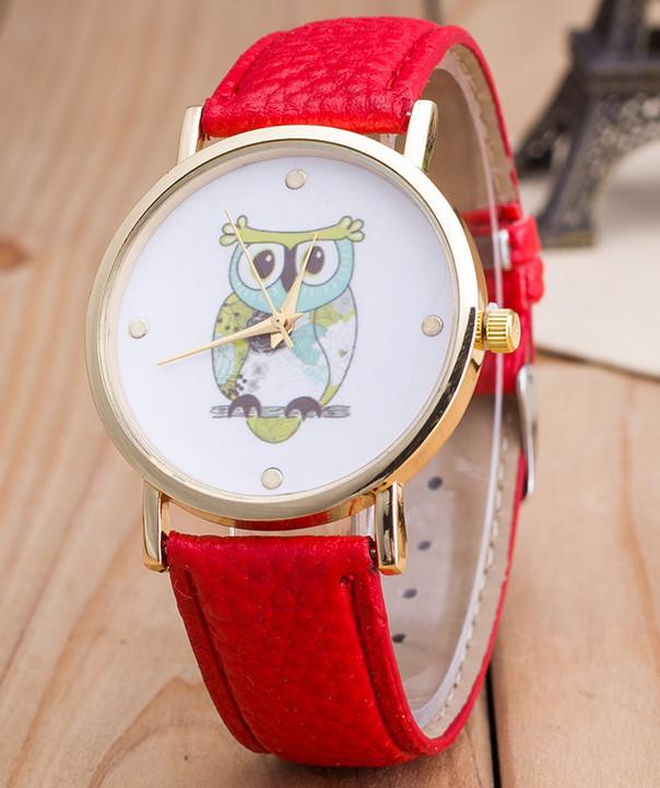 Часы Женева Geneva Сова красный ремешок