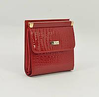 Маленький женский кожаный кошелек Mario Veronni 9026 красный лаковый