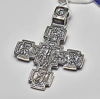 Широкий серебряный крестик из серебра