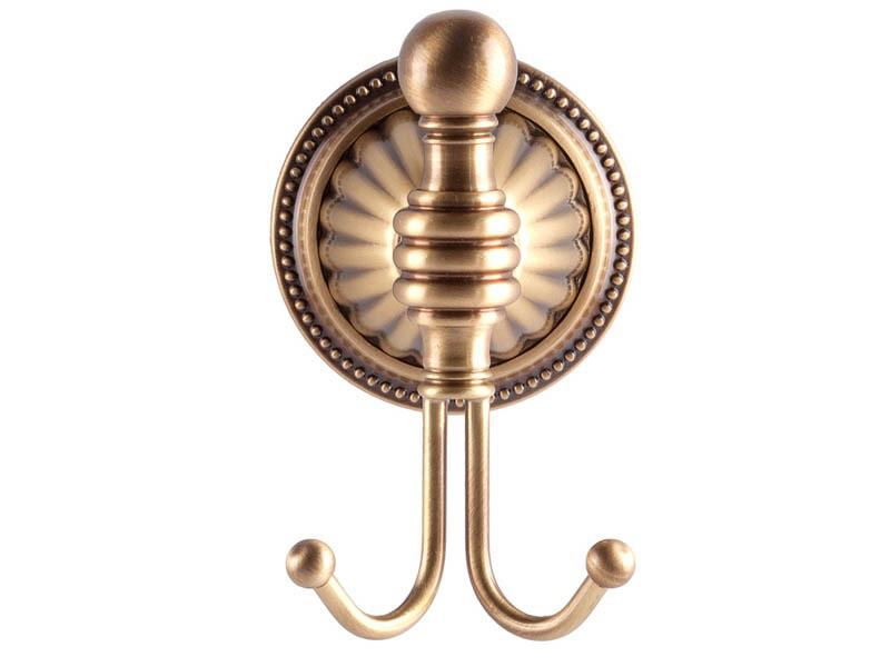 Крючок двойной KUGU Hestia antique 910A античная бронза