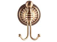 Крючок двойной KUGU Hestia antique 910A античная бронза, фото 1