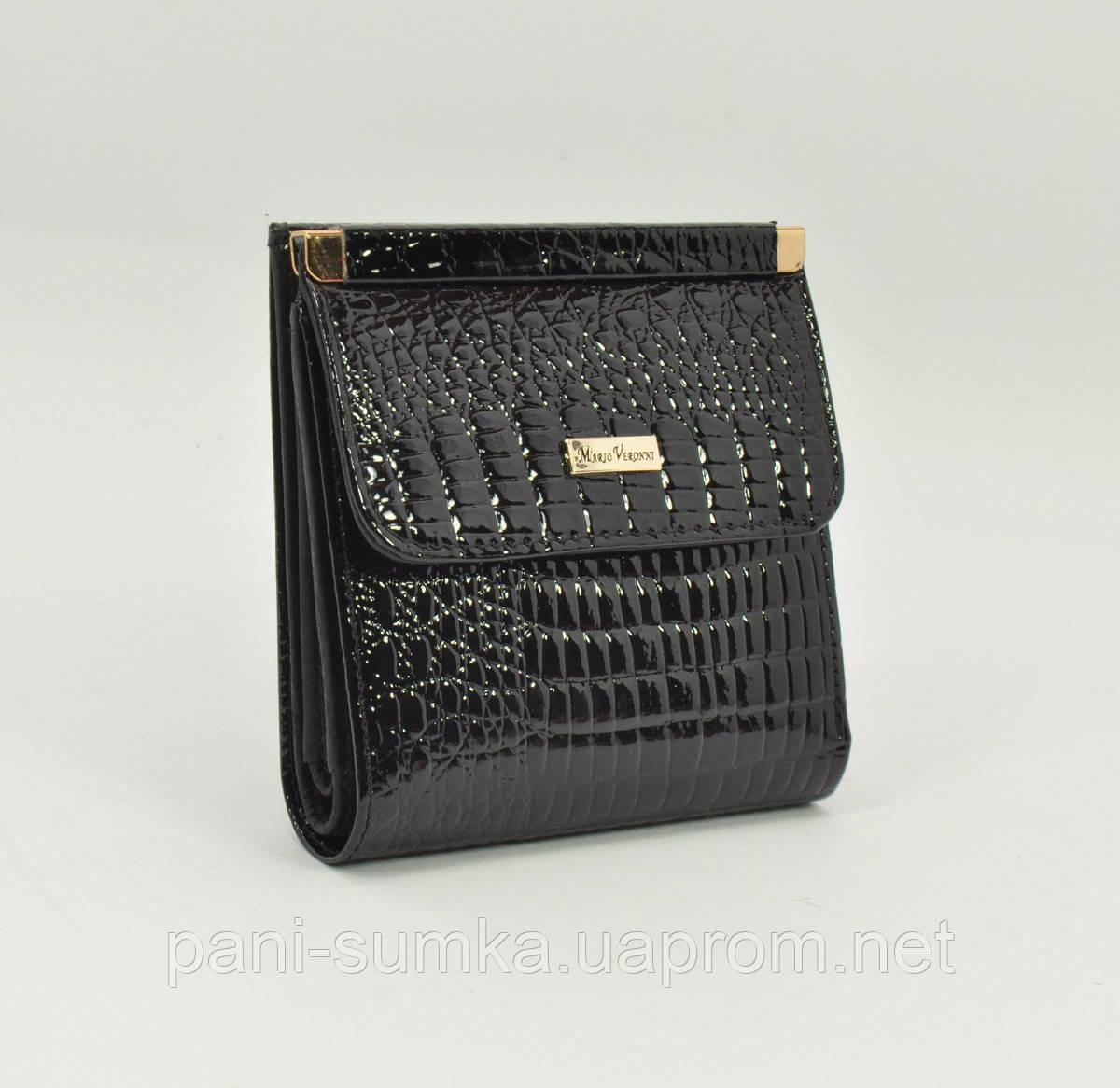 Маленький жіночий шкіряний гаманець Mario Veronni 9026 чорний лаковий