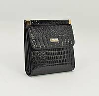 Маленький жіночий шкіряний гаманець Mario Veronni 9026 чорний лаковий, фото 1