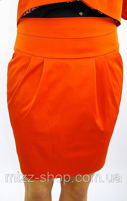 Офисная молодежная юбка с карманами