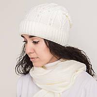 Зимний женский вязаный комплект (шапка + хомут) на флисе - Артикул 0858