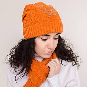 Зимний женский вязаный комплект (шапка + хомут) на флисе - Снежинка - Артикул 0863