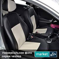 Чехлы для Nissan Juke, Черный + Белый цвет, Экокожа