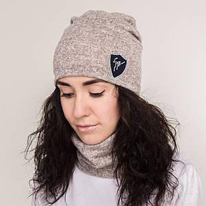 Зимний женский комплект (шапка + хомут) на флисе - Велюрка - Артикул 2149