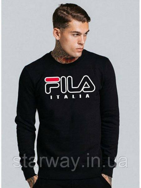 Свитшот чёрный | Кофта Fila Italia logo