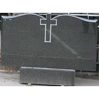 Памятник прямоугольный гранитный черный цветной одинарный двойной 100*50*8 см
