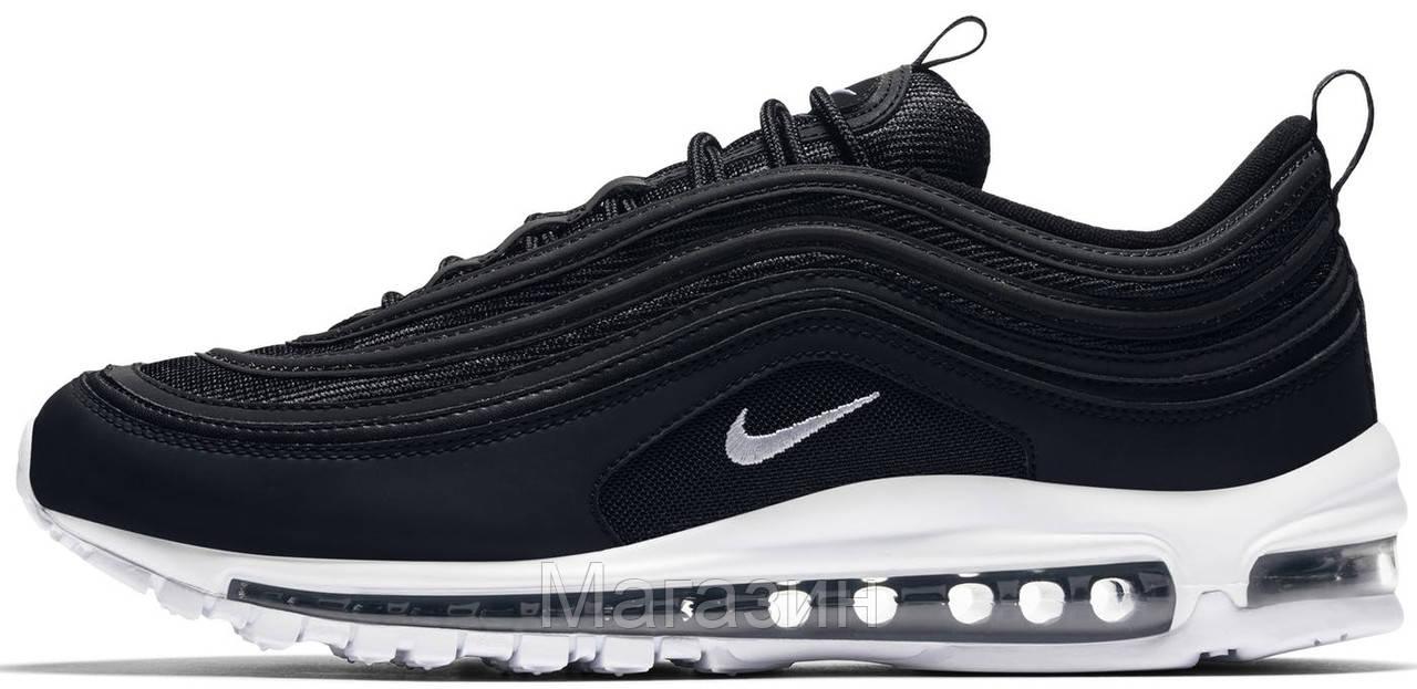 Мужские кроссовки Nike Air Max 97 Black/White (Найк Аир Макс 97) черные с белым