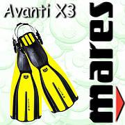 Ласты Mares AVANTI X3 ABS р.XL 45-47 для подводного плавания (желтые)