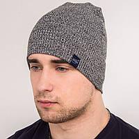 Вязаная мужская однотонная шапка зима 2018 - VERTEX - Арт 2065