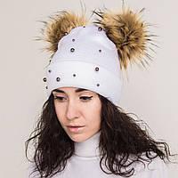 Зимняя женская шапка с помпоном на флисе - Арт 2172
