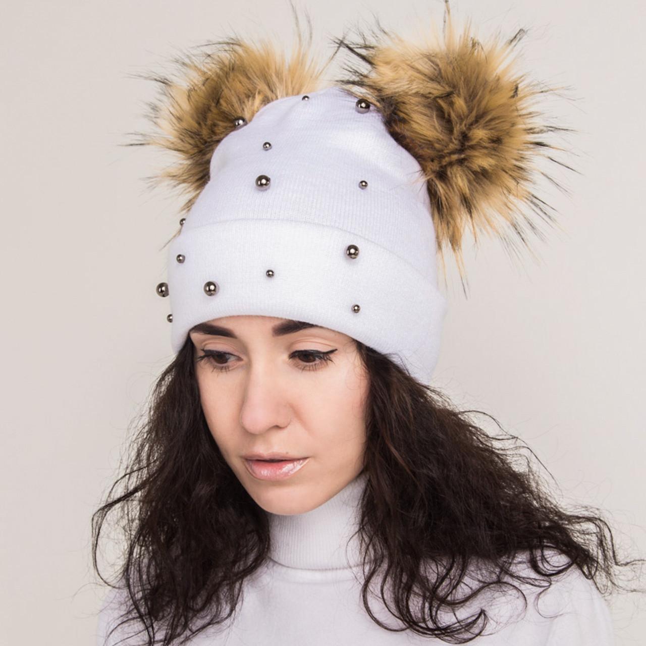 Зимняя женская шапка с помпоном - Арт 2172