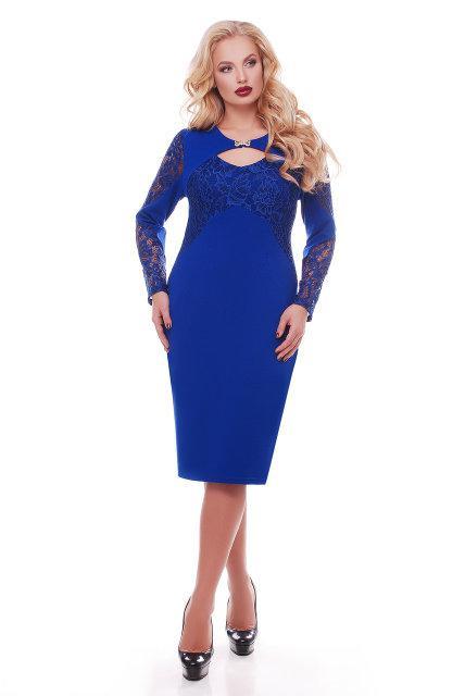 Женское красивое платье Шерилин электрик (52-58)