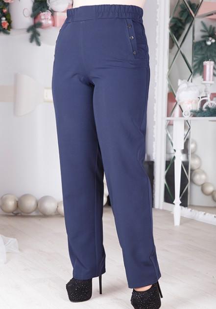 Синие брюки с декорированными карманами 1217