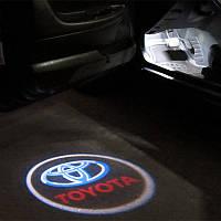 Подсветка двери с логотипом авто Toyota / Тойота (Land Cruiser, Avensis, Prado, Camry, Highlander, Corolla)