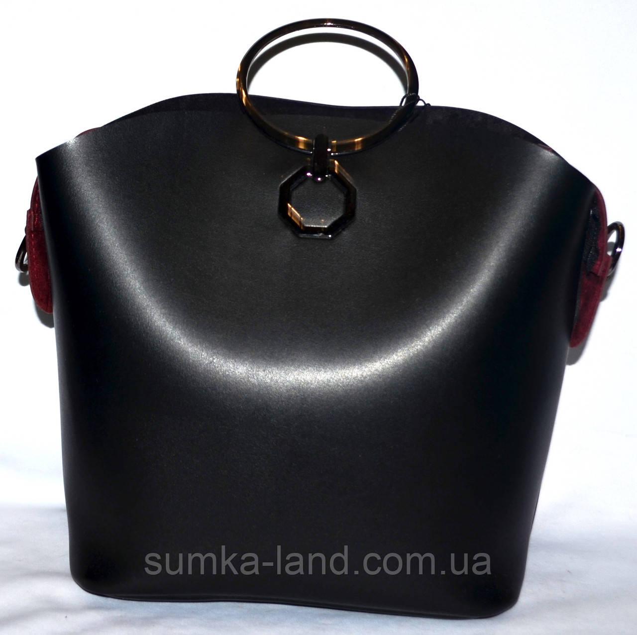 7ba30cbc5f78 Женская сумка Michael Kors с металлическими ручками 27 24 черная с бордо