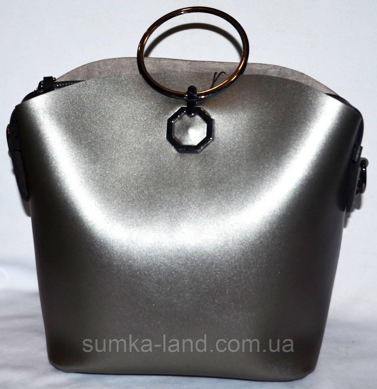 fb15318719b7 Женская сумка Michael Kors с металлическими ручками 27*24 бронза с черным -  SUMKA-