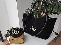 Комбинированная женская сумка Gucci Замш+экокожа черная | Сумочка гучи замшевая
