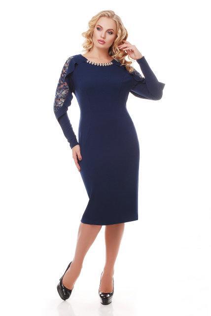 Женское нарядное платье Рамина темно-синее (52-58)