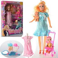 Лялька з вбранням 6013E вагітна, пупс, донька, коляска, пляшечка, гребінець, 21,5-3