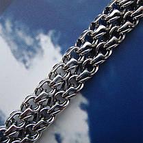 Серебряный браслет, 210мм, 22,5 грамма, плетение двойной Бисмарк, фото 2