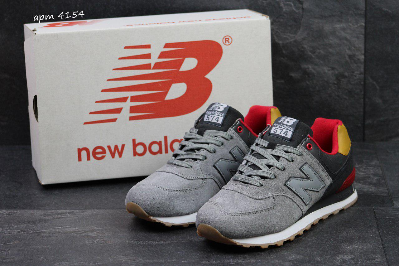 8ad66f10 Мужские кроссовки New Balance 574 замшевые,черные с серым -  Интернет-магазин Дом Обуви