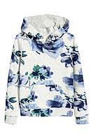 Худи, толстовка H&M в синие цветы,  в наличии ХS