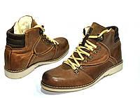 Мужские ботинки зимние кожаные Польша 1007 коричневые