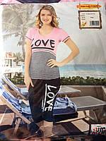 Пижама женская Miss Victoria бриджи + футболка, m,s  и L, XL, хлопок