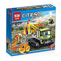 """Конструктор Lepin02003 аналог LEGO City 60122  """"Гусеничная машина исследователей вулканов"""", 350деталей"""