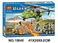 """Конструктор Bela 10640 аналог LEGO City 60123  """"Грузовой вертолетисследователей вулканов"""", 348деталей"""