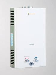 Газовая колонка Savanna 18 кВт 10 л LCD белая проточный газовый водонагреватель